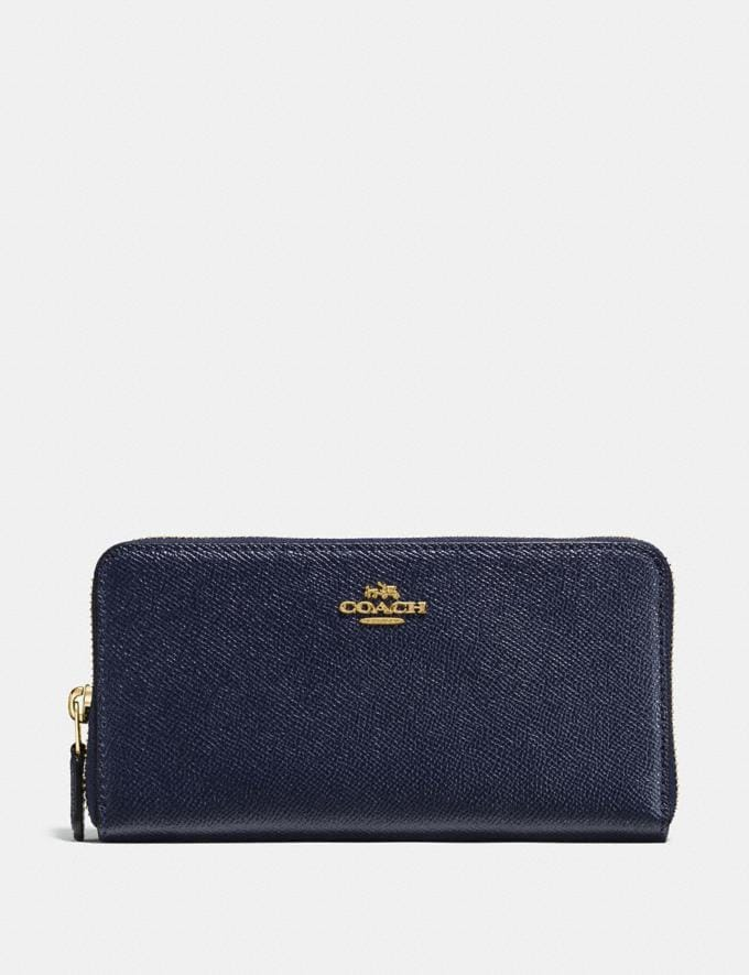 Coach Accordion Zip Wallet Light Gold/Midnight Navy Women Small Leather Goods Large Wallets