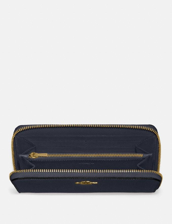 Coach Accordion Zip Wallet Light Gold/Midnight Navy Women Small Leather Goods Large Wallets Alternate View 1