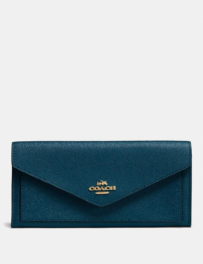 Coach Soft Wallet Peacock/Gold New Featured Jennifer Lopez in Coach
