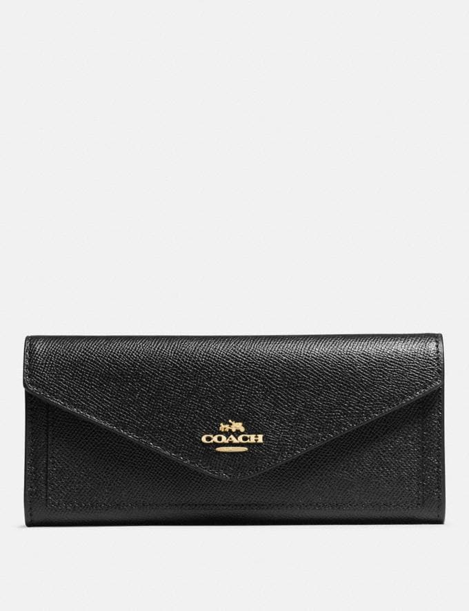 Coach Soft Wallet Black/Light Gold Women Wallet Guide Large