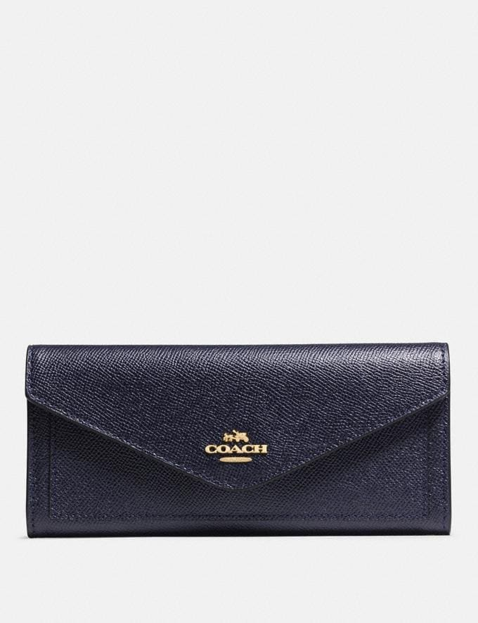 Coach Soft Wallet Li/Navy Women Small Leather Goods Large Wallets
