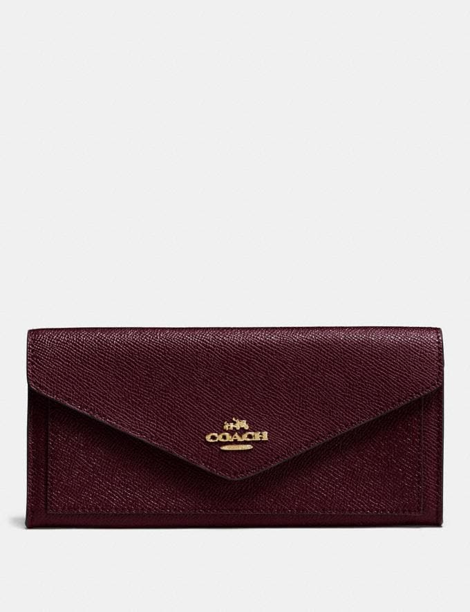 Coach Soft Wallet Oxblood/Light Gold New Women's New Arrivals Wallets & Wristlets