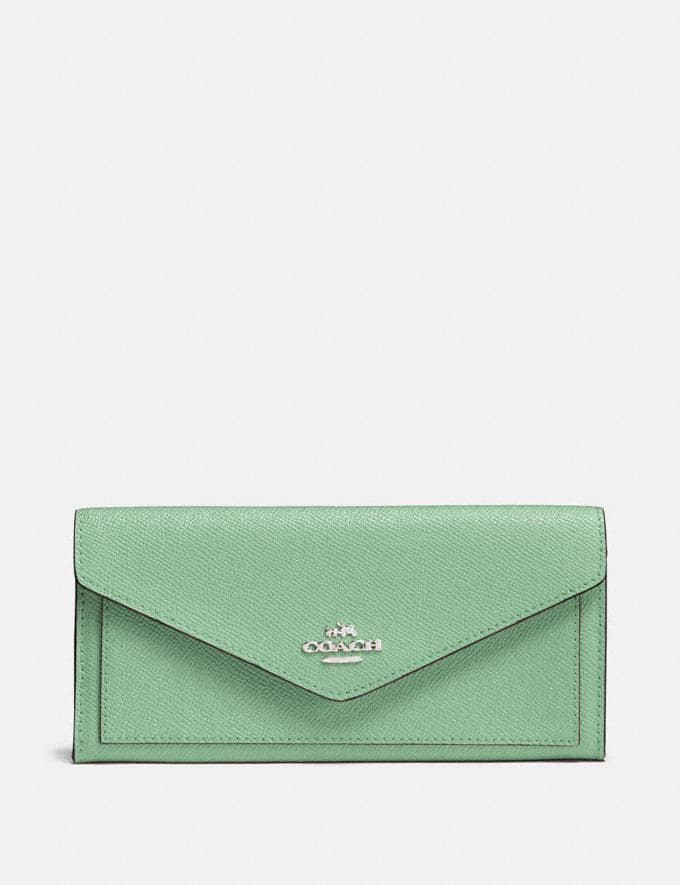 Coach Soft Wallet Light Teal/Silver New Women's New Arrivals Wallets & Wristlets