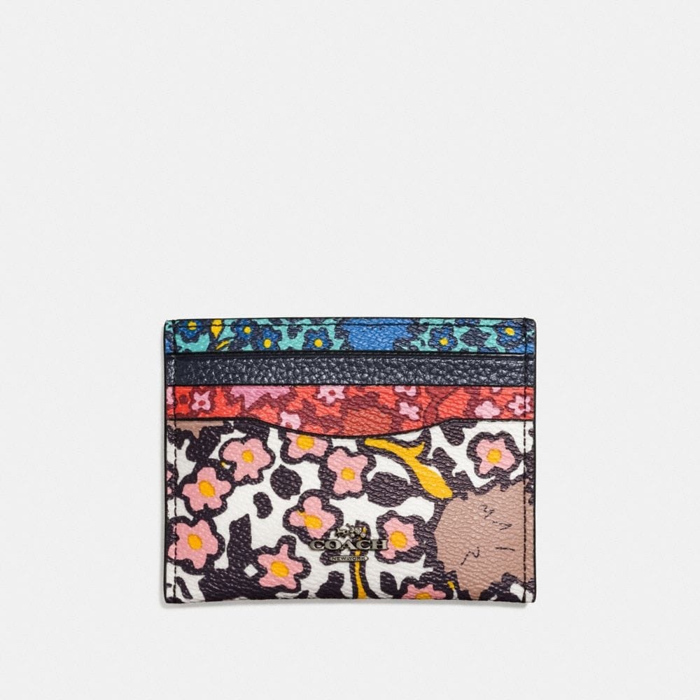 Flat Card Case in Mixed Yankee Floral Print Coated Canvas