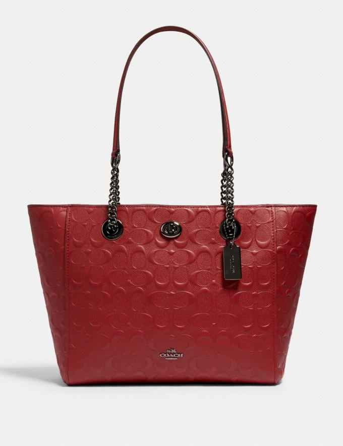 Coach Turnlock Chain Tote 27 in Signature Leather Dk/Cherry