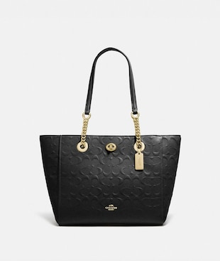 TURNLOCK CHAIN TOTE 27 IN SIGNATURE LEATHER