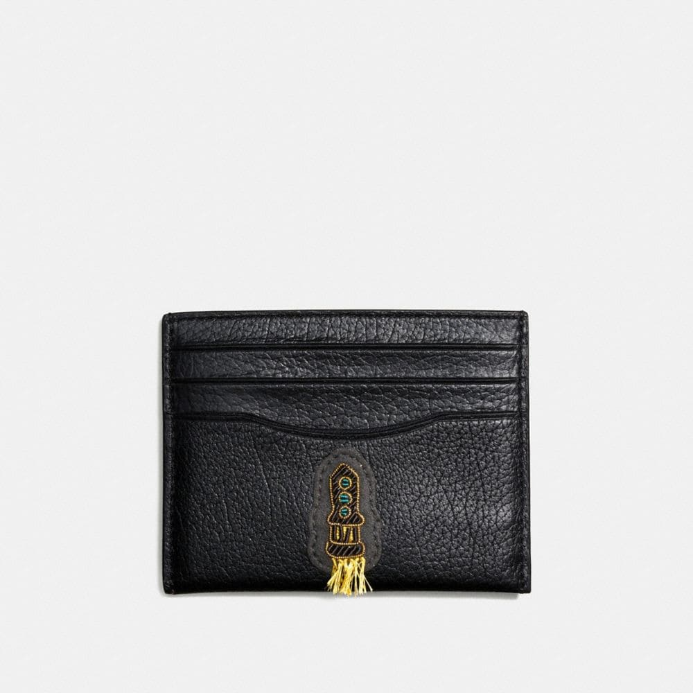 FLAT CARD CASE IN GRAIN LEATHER WITH SOUVENIR EMBROIDERY