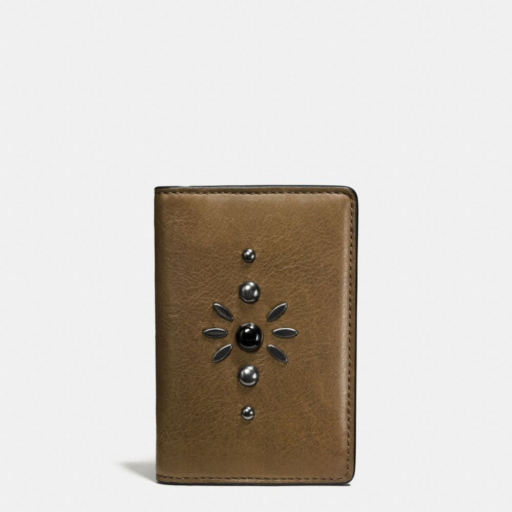 Coach Western Rivets Card Wallet in Sport Calf Leather