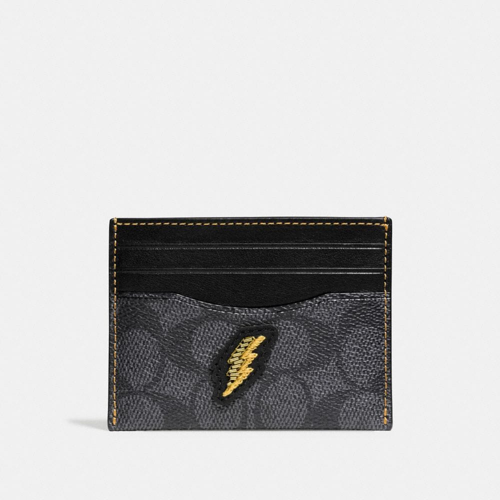 CARD CASE IN SIGNATURE LEATHER WITH EMBROIDERY