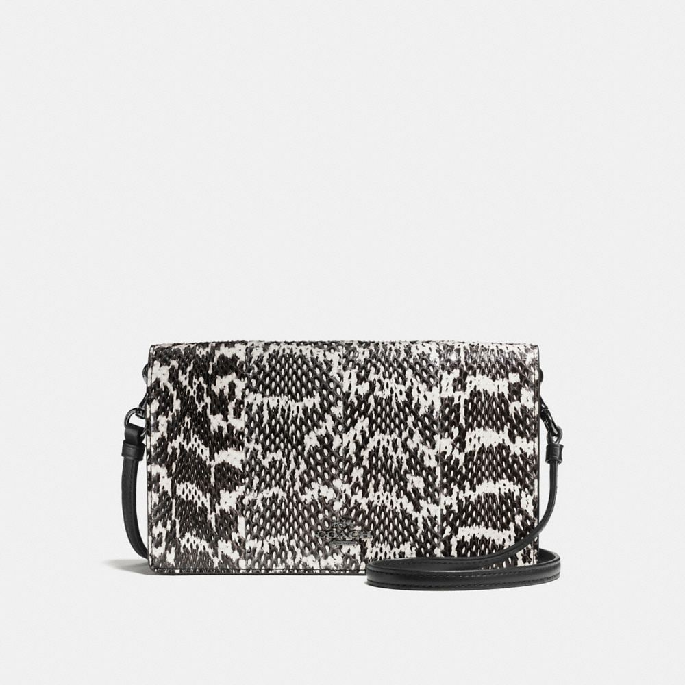 FOLDOVER CROSSBODY CLUTCH IN SNAKESKIN
