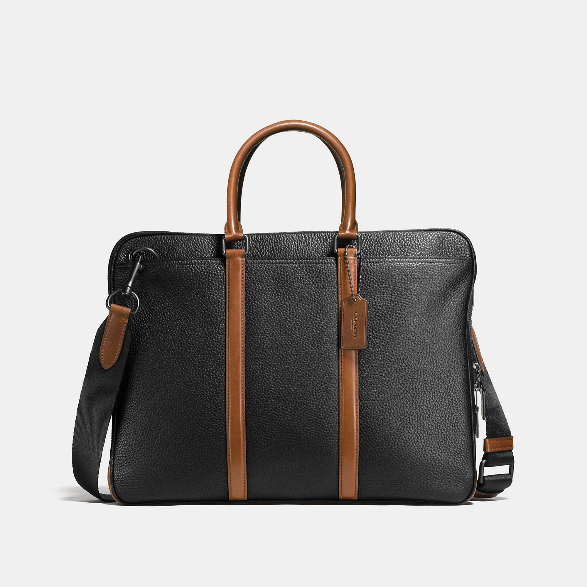 Coach Metropolitan Slim Brief In Material Block Leather