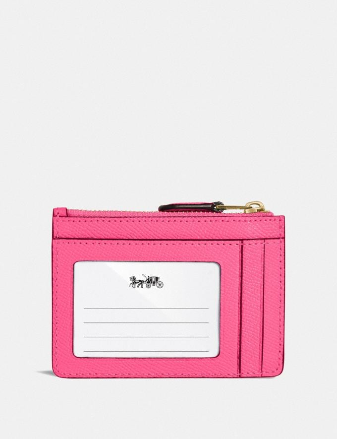 Coach Mini Skinny Id Case B4/Confetti Pink Women Small Leather Goods Card Cases Alternate View 1