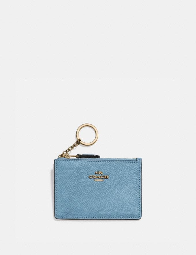 Coach Mini Skinny Id Case Brass/Pacific Blue Gifts For Her Under $100