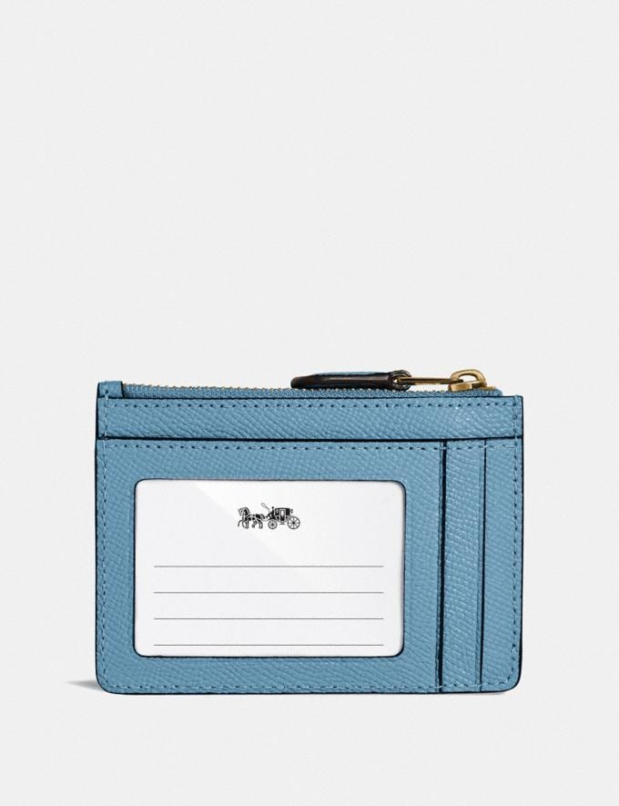 Coach Mini Skinny Id Case Brass/Pacific Blue Gifts For Her Under $100 Alternate View 1