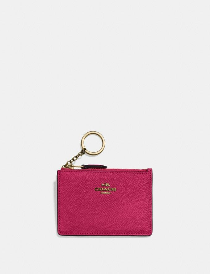 Coach Mini Skinny Id Case Bright Cherry/Gold