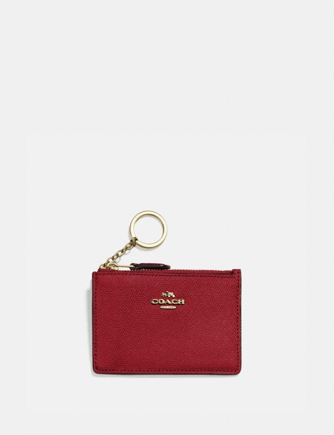Coach Mini Skinny Id Case Gd/Deep Red Women Small Leather Goods Small Wallets