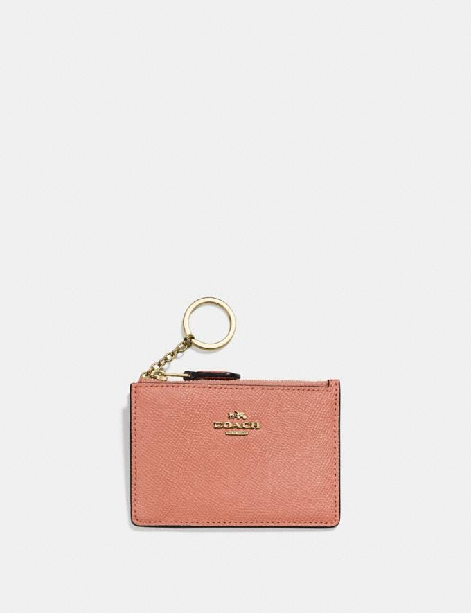 Coach Mini Skinny Id Case Light Peach/Gold Women Small Leather Goods Small Wallets