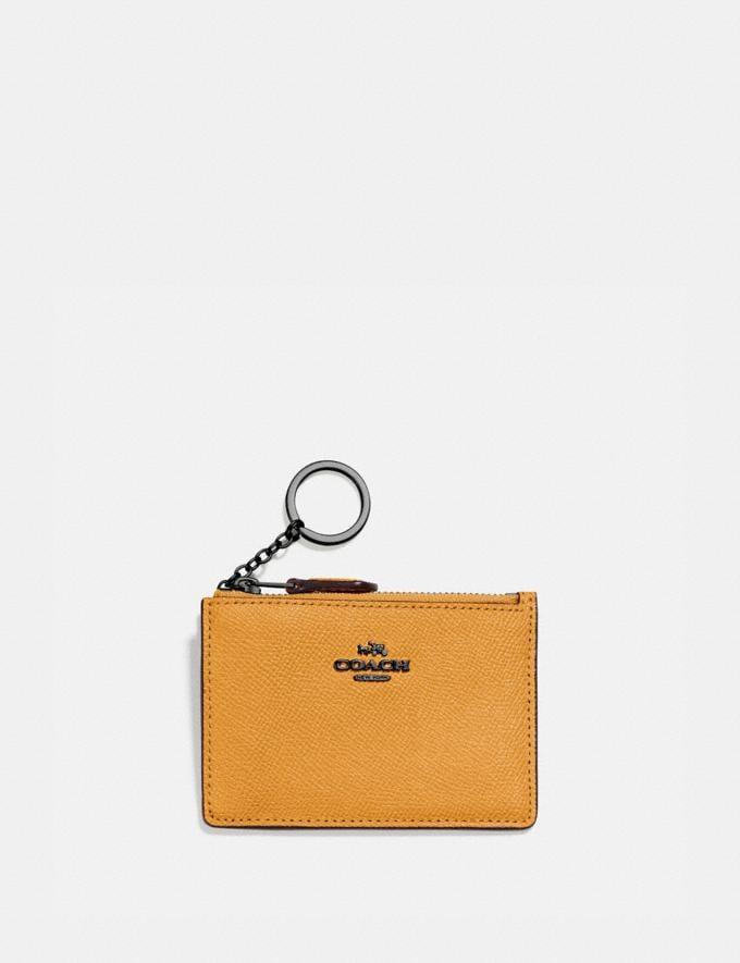 Coach Mini Skinny Id Case Gunmetal/Dark Mustard Gifts For Her Under $100
