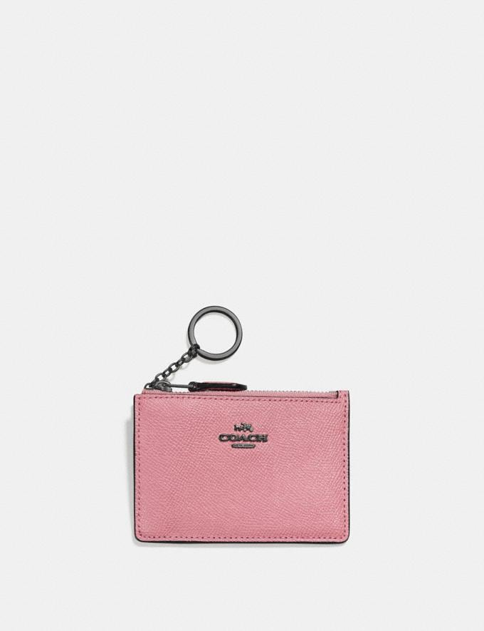 Coach Mini Skinny Id Case Gunmetal/True Pink SALEDDD Women's Sale New to Sale New to Sale