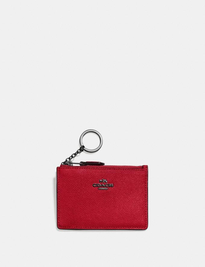 Coach Mini Skinny Id Case Gunmetal/Red Apple New Women's New Arrivals Wallets & Wristlets