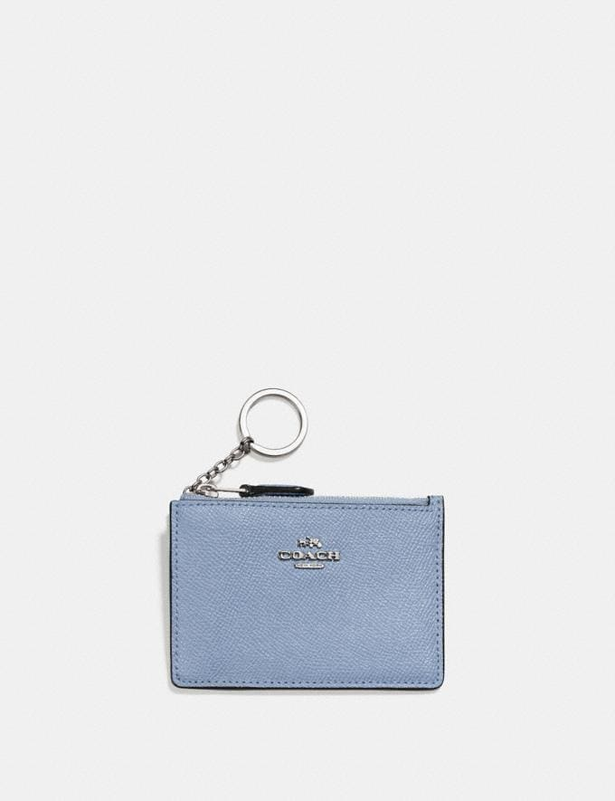 Coach Mini Skinny Id Case Silver/Mist New Women's New Arrivals Wallets & Wristlets