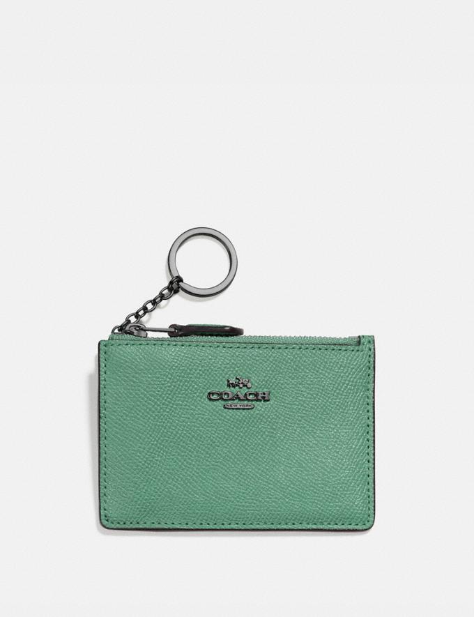 Coach Mini Skinny Id Case V5/Washed Green Women Small Leather Goods Card Cases