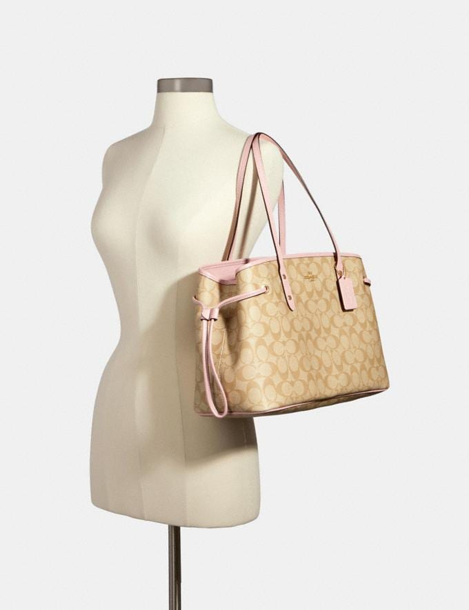 Coach Drawstring Carryall in Signature Canvas Im/Light Khaki Blossom Clearance Alternate View 2