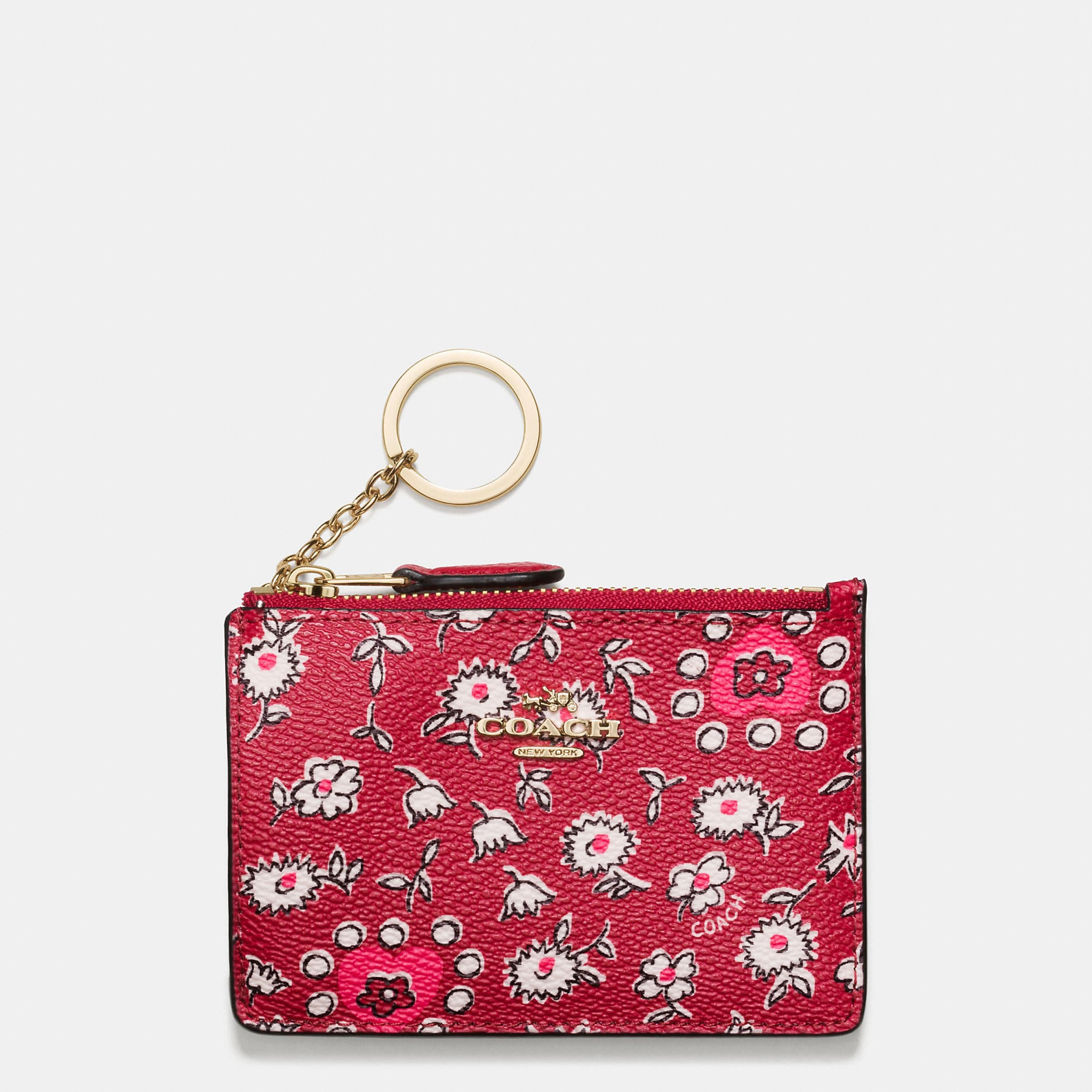 Coach Mini Skinny Id Case In Wild Hearts Print Coated Canvas