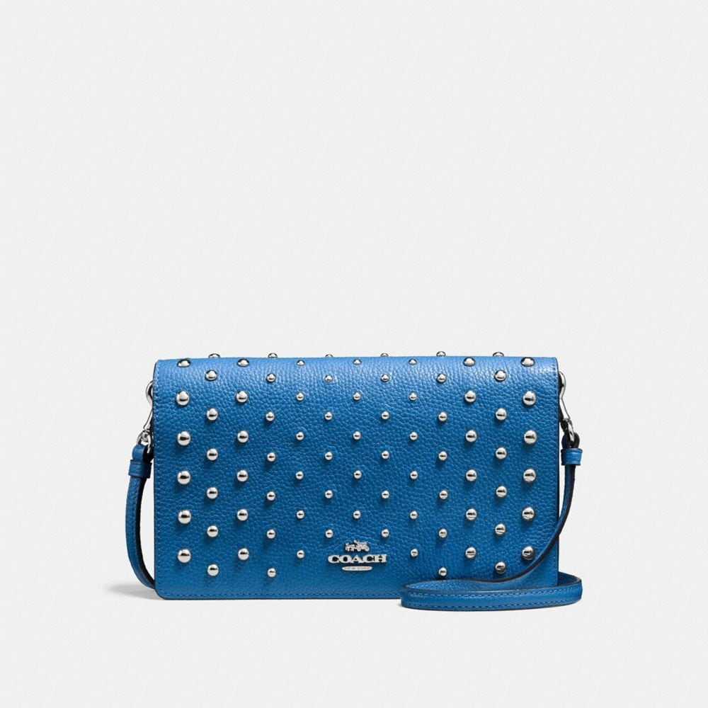 FOLDOVER CROSSBODY WITH OMBRE RIVETS