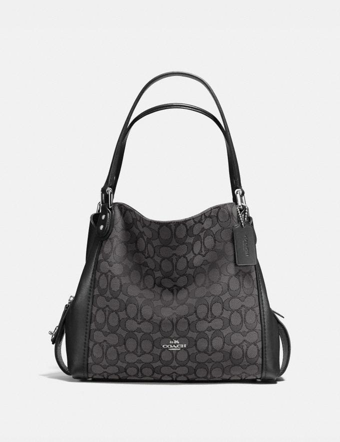 Coach Edie Shoulder Bag 31 in Signature Jacquard Black Smoke/Black/Silver Customization Personalize It Monogram for Her