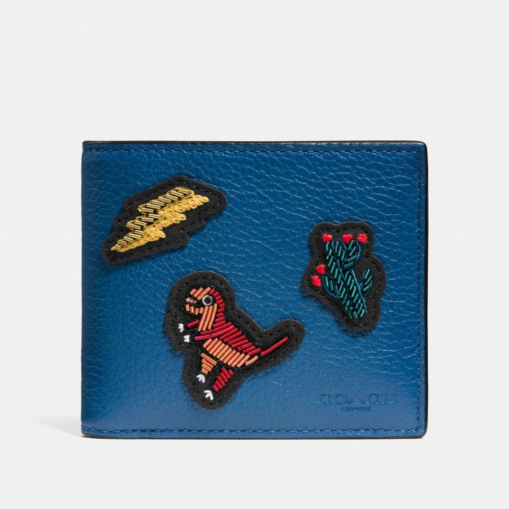 3-IN-1 WALLET IN GRAIN LEATHER WITH PATCHES