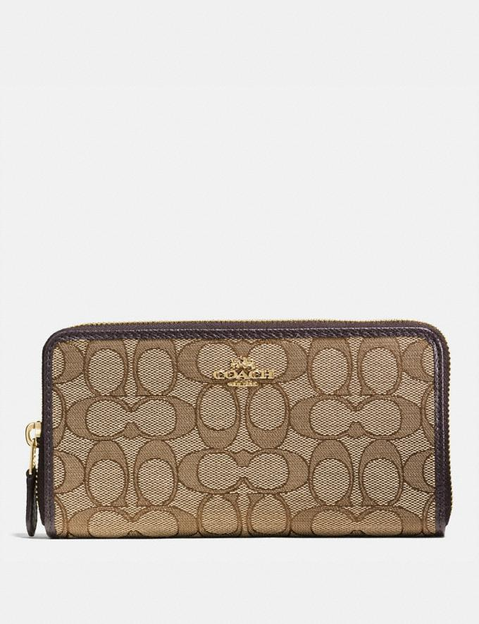 Coach Accordion Zip Wallet in Signature Jacquard Khaki/Brown/Light Gold SOMMER-SALE Sale: Damen Portemonnaies und Taschen mit Handschlaufen