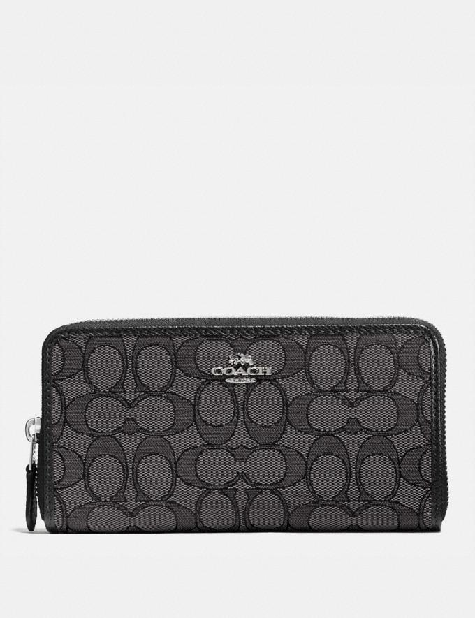 Coach Accordion Zip Wallet in Signature Jacquard Black Smoke/Black/Silver