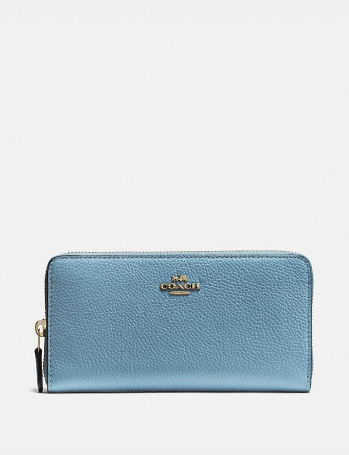 Coach Accordion Zip Wallet Brass/Pacific Blue New Women's New Arrivals Wallets & Wristlets