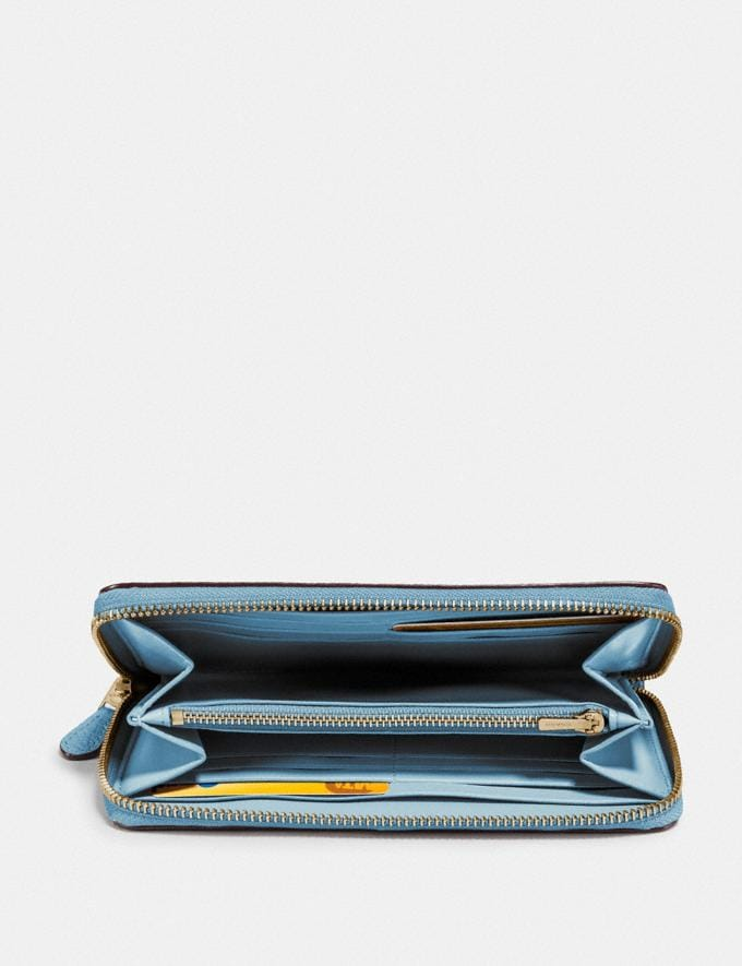 Coach Accordion Zip Wallet Brass/Pacific Blue New Women's New Arrivals Wallets & Wristlets Alternate View 1