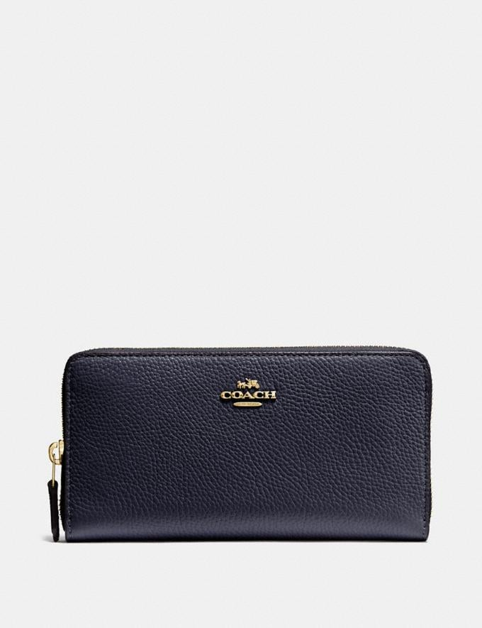 Coach Accordion Zip Wallet Navy/Light Gold New Featured Bestsellers