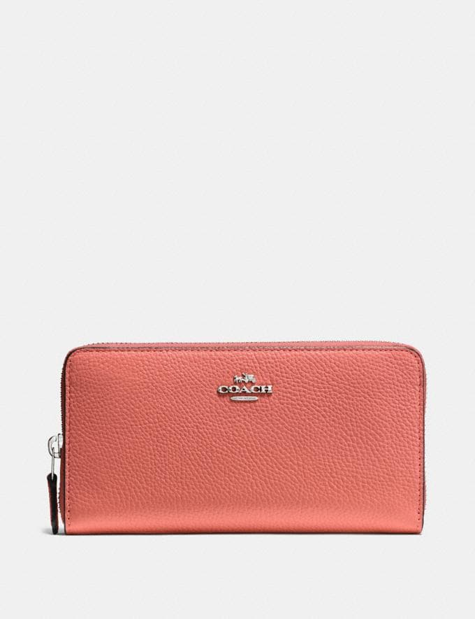Coach Accordion Zip Wallet Bright Coral/Silver Women Small Leather Goods Large Wallets