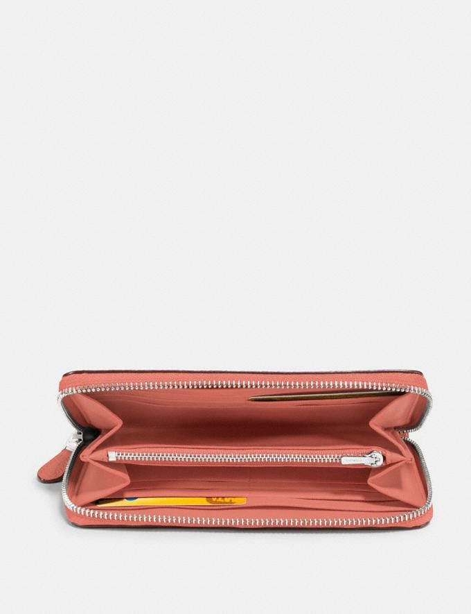 Coach Accordion Zip Wallet Bright Coral/Silver Women Small Leather Goods Large Wallets Alternate View 1