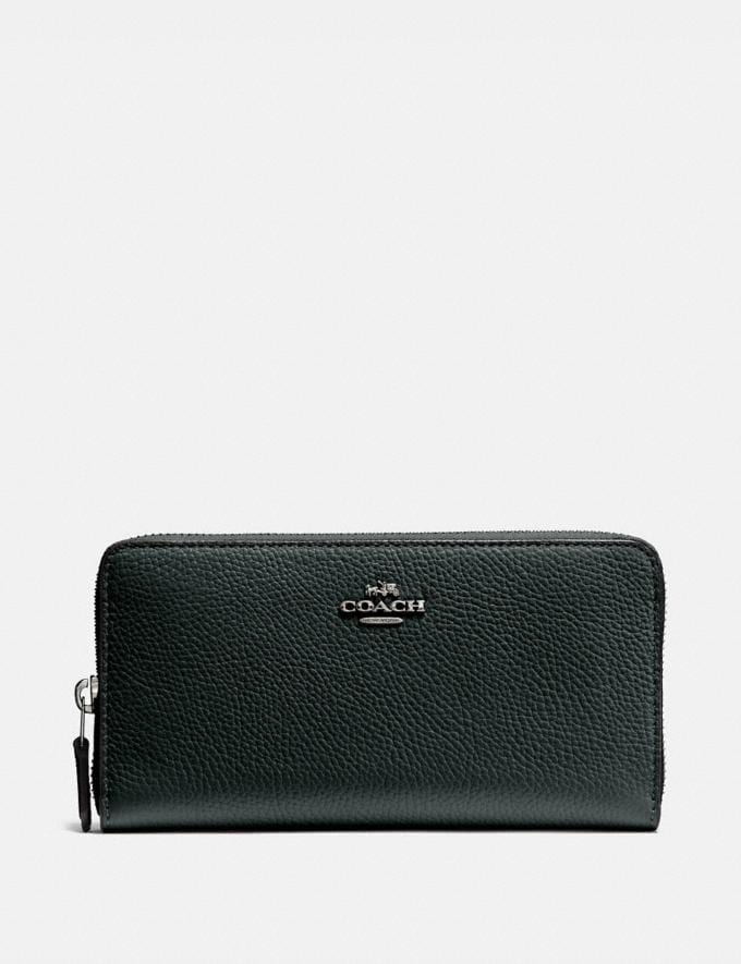 Coach Accordion Zip Wallet Pewter/Pine Green New Women's New Arrivals