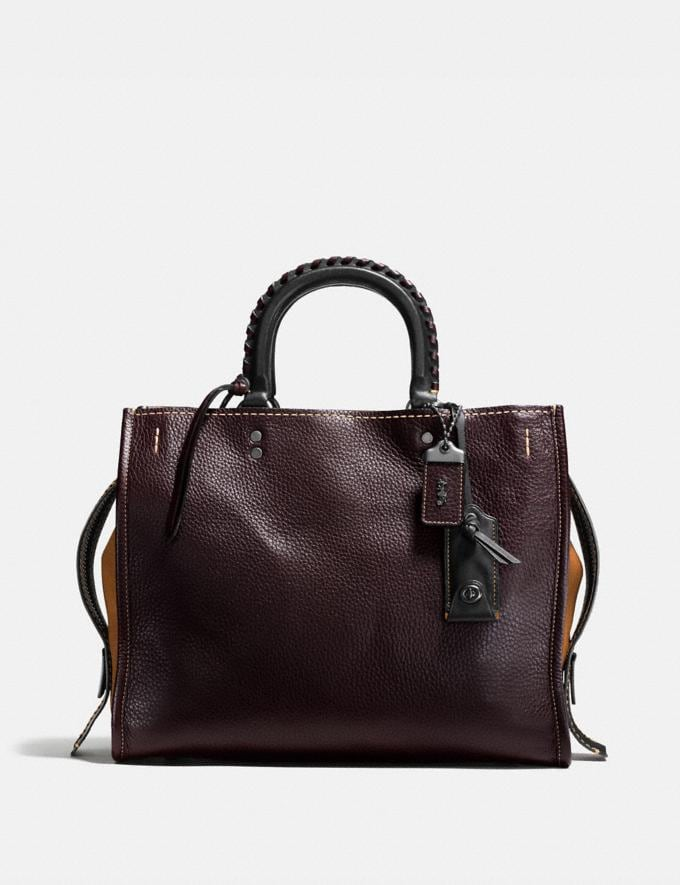 Coach Rogue With Whipstitch Handle Oxblood/Black Copper SALE Women's Sale Bags