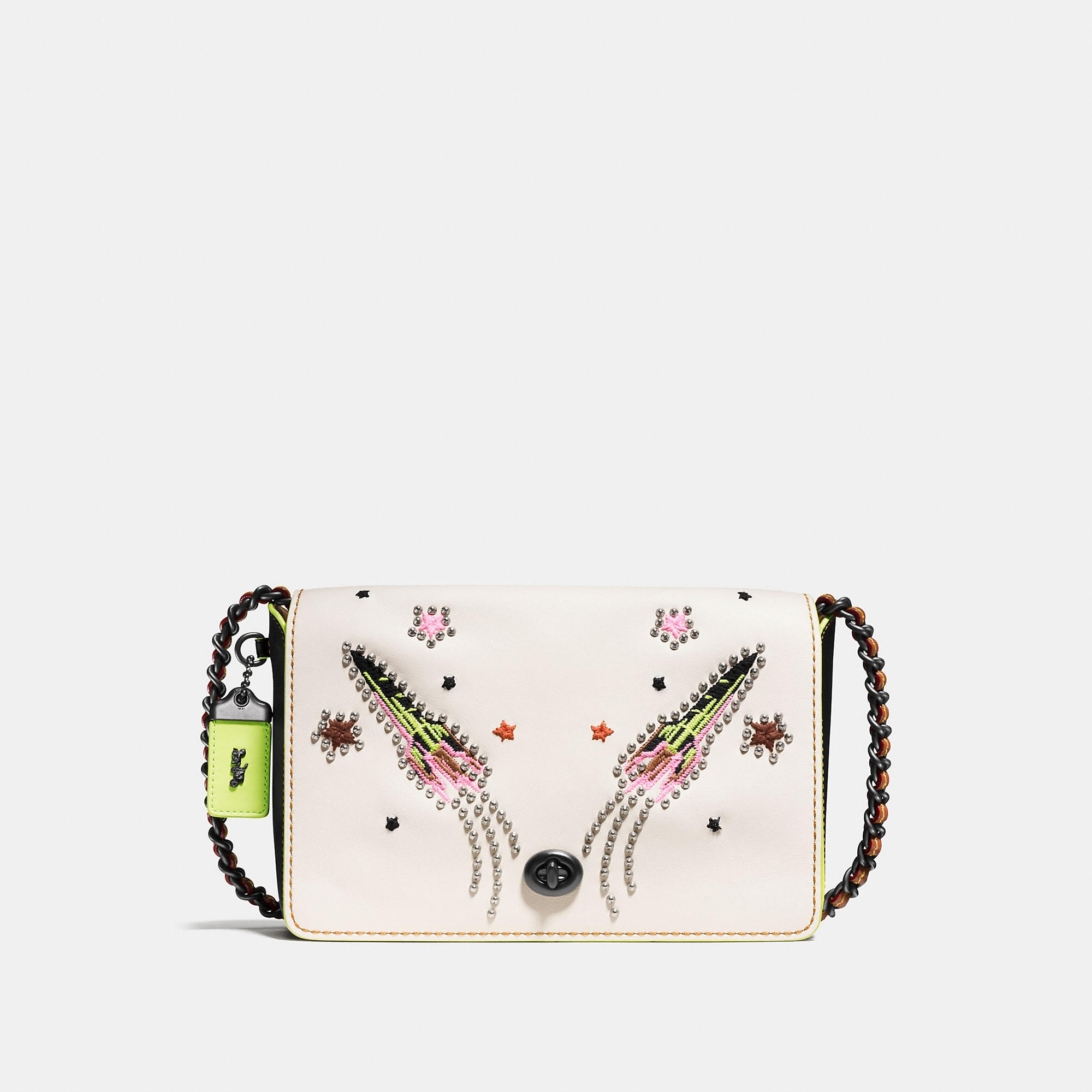 Coach Dinky Crossbody 24 In Glovetanned Leather With Rocket Embellishment