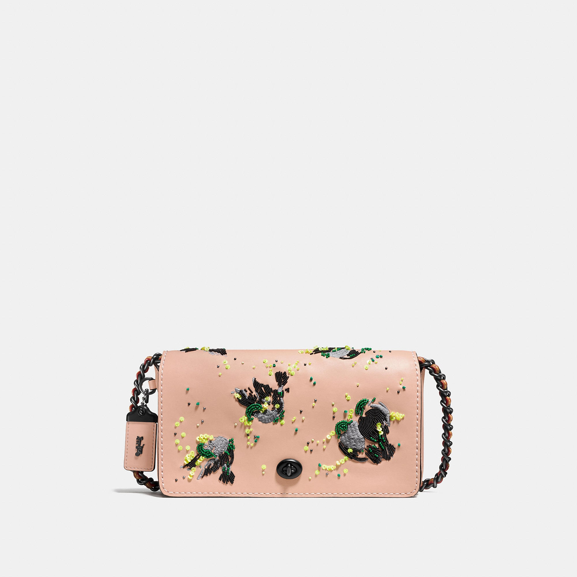 Coach Dinky Crossbody In Glovetanned Leather With Meadowlark Embellishment