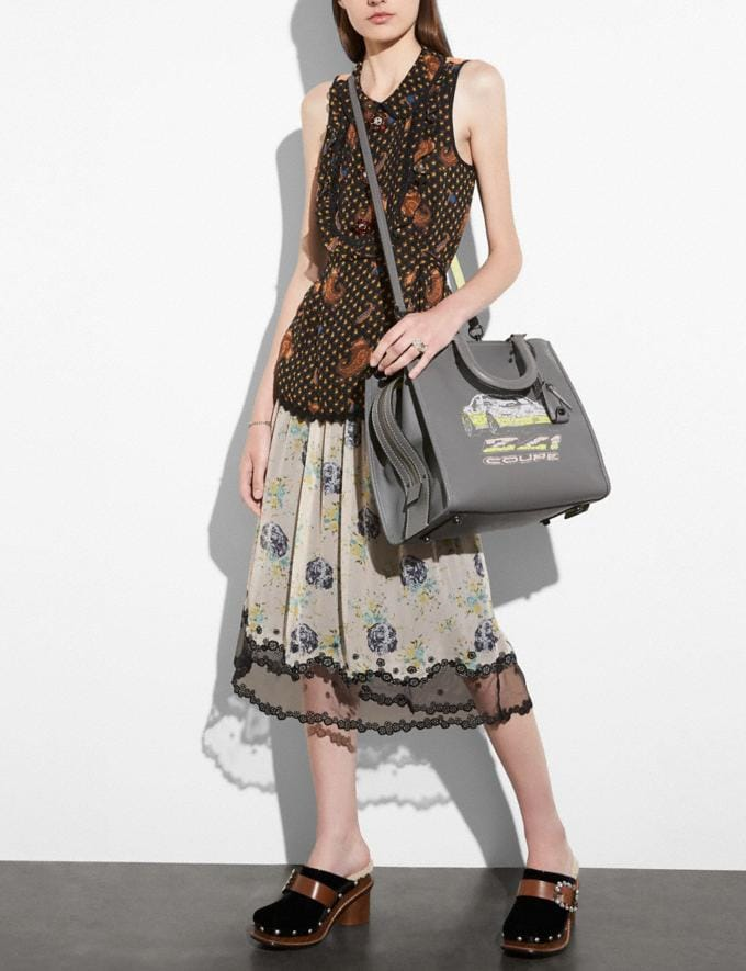 Coach Rogue 36 in Glovetanned Leather With Car Embellishment Heather Grey/Black Copper SALE Women's Sale New to Sale New to Sale Alternate View 3