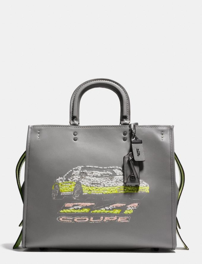 Coach Rogue 36 in Glovetanned Leather With Car Embellishment Heather Grey/Black Copper SALE Women's Sale New to Sale New to Sale