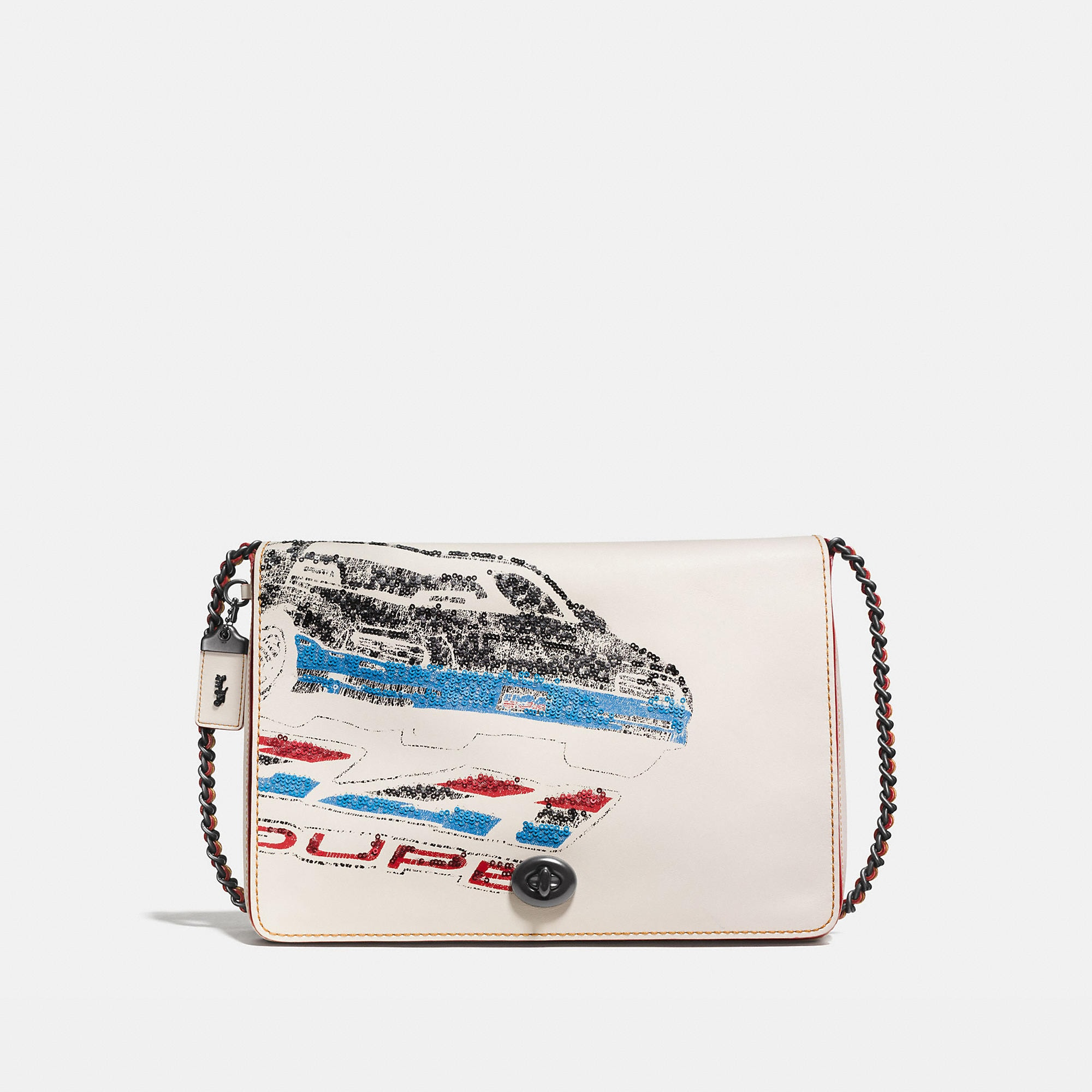 Coach Dinky Crossbody 32 In Glovetanned Leather With Car Embellishment