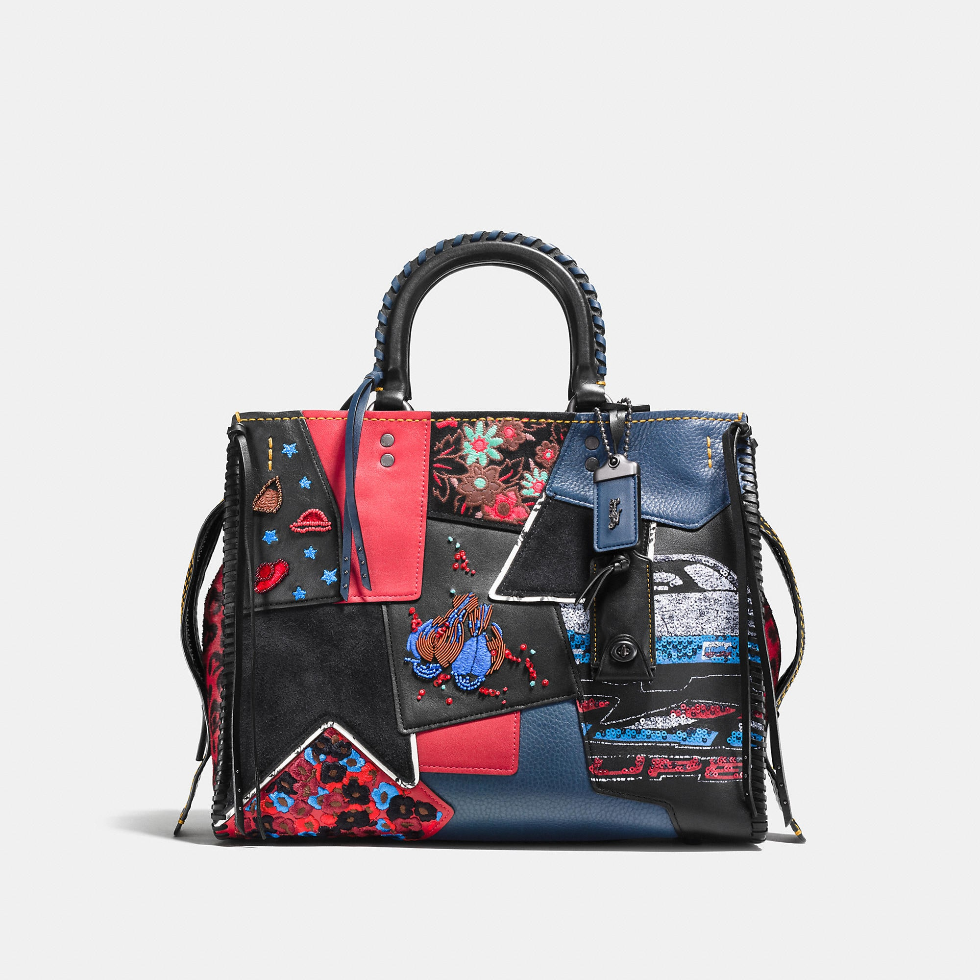 Coach Rogue In Embellished Patchwork Mixed Materials
