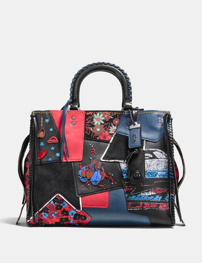 Coach Rogue in Embellished Patchwork Mixed Materials Bp/Nude Pink Multi