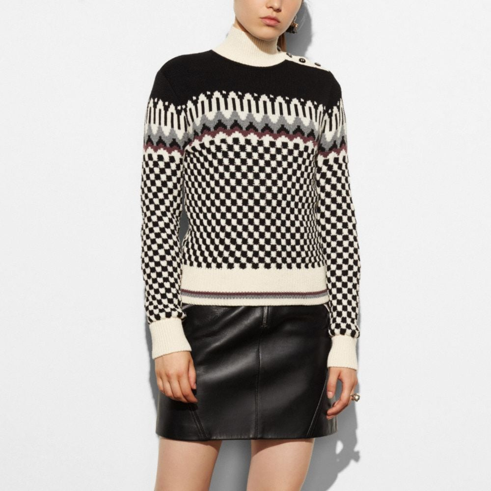 Checkerboard Turtleneck