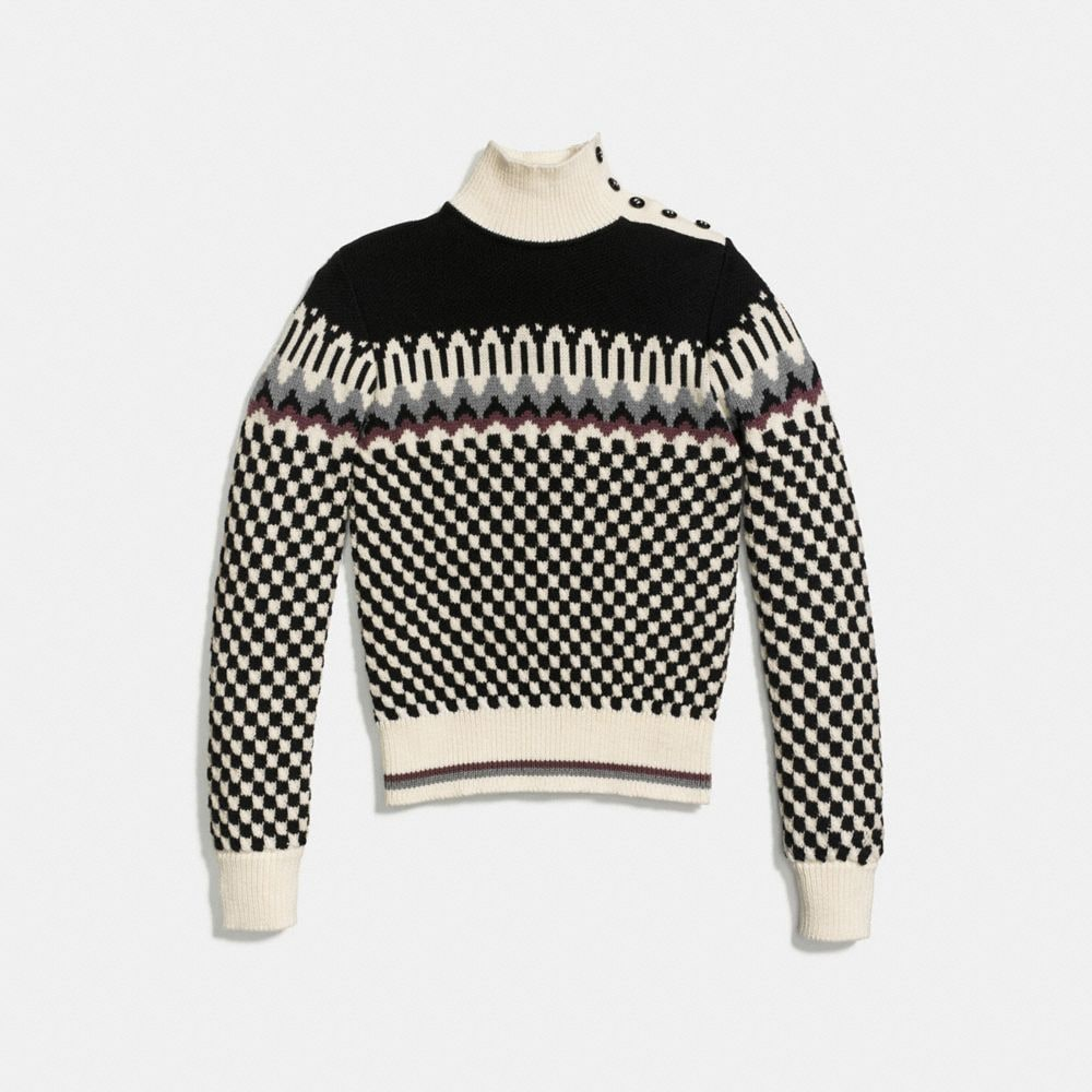 Checkerboard Turtleneck - Alternate View A1