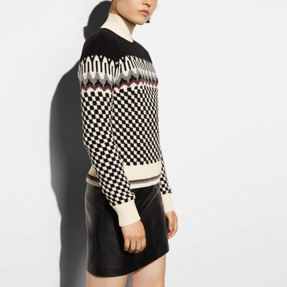 Checkerboard Turtleneck - Alternate View M